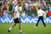 Thomas Mueller of Germany leaves the pitch dejected followingthe 2018 FIFA World Cup Russia group F match between Germany and Mexico at Luzhniki Stadium on June 17, 2018 in Moscow, Russia.