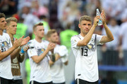 Thomas Mueller of Germany applauds the fans after the 2018 FIFA World Cup Russia group F match between Germany and Mexico at Luzhniki Stadium on June 17, 2018 in Moscow, Russia.