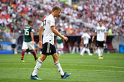 Thomas Mueller of Germany looks dejected during the 2018 FIFA World Cup Russia group F match between Germany and Mexico at Luzhniki Stadium on June 17, 2018 in Moscow, Russia.