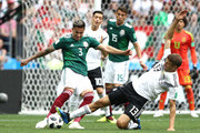 Carlos Salcedo of Mexico is tackled by Thomas Mueller of Germany during the 2018 FIFA World Cup Russia group F match between Germany and Mexico at Luzhniki Stadium on June 17, 2018 in Moscow, Russia.