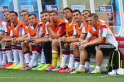 Miroslav Klose of Germany (third from right), Lukas Podolski and Bastian Schweinsteiger look on from the bench during the 2014 FIFA World Cup Brazil Group G match between Germany and Portugal at Arena Fonte Nova on June 16, 2014 in Salvador, Brazil.