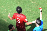 Rui Patricio of Portugal reacst as Pepe is shown a red card and sent off by referee Milorad Mazic during the 2014 FIFA World Cup Brazil Group G match between Germany and Portugal at Arena Fonte Nova on June 16, 2014 in Salvador, Brazil.