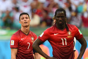 Cristiano Ronaldo of Portugal (L) and Eder look dejected during the 2014 FIFA World Cup Brazil Group G match between Germany and Portugal at Arena Fonte Nova on June 16, 2014 in Salvador, Brazil.