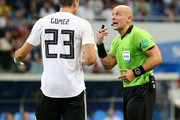 Mario Gomez of Germany argues with Referee Szymon Marciniak  during the 2018 FIFA World Cup Russia group F match between Germany and Sweden at Fisht Stadium on June 23, 2018 in Sochi, Russia.