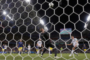 Robin Olsen of Sweden makes a save from Mario Gomez of Germany during the 2018 FIFA World Cup Russia group F match between Germany and Sweden at Fisht Stadium on June 23, 2018 in Sochi, Russia.