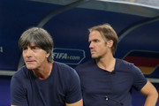 Joachim Loew, head coach  of Germany looks with his assistent coach Thomas Schneider during the 2018 FIFA World Cup Russia group F match between Germany and Sweden at Fisht Stadium on June 23, 2018 in Sochi, Russia.