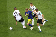 Emil Forsberg of Sweden challenge for the ball with Jerome Boateng, Thomas Mueller and Joshua Kimmich of Germany  during the 2018 FIFA World Cup Russia group F match between Germany and Sweden at Fisht Stadium on June 23, 2018 in Sochi, Russia.