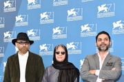 (L-R) Actor Habib Rezaei, director Rakhshan Bani-Etemad and actor  Peyman Moaadi  attends the 'Tales' (Ghesseha) photocall during the 71st Venice Film Festival on August 28, 2014 in Venice, Italy.
