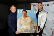 Publisher/Entrepreneur Jason Binn (L) and Professional baseball player Giancarlo Stanton pose for a photo as they celebrate the DuJour Magazine Cover at TAO Downtown on March 26, 2019 in New York City.