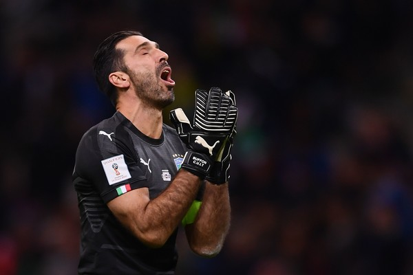 Italy v Sweden - FIFA 2018 World Cup Qualifier Play-Off: Second Leg [photo,microphone,player,championship,audio equipment,rugby,competition event,facial hair,team sport,gianluigi buffon,sweden - fifa,play-off: second leg,italy,stadium,sweden,world cup qualifier,football match,fifa world cup]