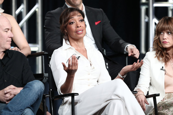 2019 Winter TCA Tour - Day 1 [fashion,event,human,performance,hand,photography,gesture,sitting,fashion accessory,bangs,gina torres,portion,panel,pasadena,california,winter tca,nbcuniversal,pearson,the langham huntington,television critics association winter press tour]