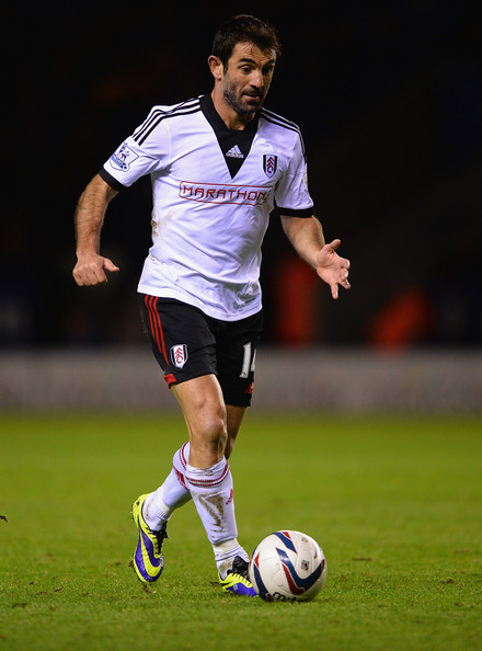 Leicester City v Fulham [player,soccer,sports,soccer player,soccer ball,sports equipment,football player,team sport,ball game,football,giorgos karagounis,v,action,fulham,leicester,england,leicester city,capital one,round,match]