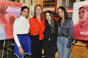 "(L-R) Freida Pinto, Martha Adams, Landry Bender, and Catt Sadler attend Girl Rising and International Rescue Committee's special screening of Documentary Film ""Brave Girl Rising"" for International Women's Day at West Hollywood City Council Chamber on March 08, 2019 in West Hollywood, California."