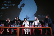 "(L-R) Synnove Macody Lund, Sverrir Gudnason, Claire Foy, Sylvia Hoeks and Fede Alvarez attend the ""The Girl In The Spider's Web"" press conference during the 13th Rome Film Fest at Auditorium Parco Della Musica on October 24, 2018 in Rome, Italy."