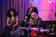 Judith Hill, Cathy Henderson and Melissa Etheridge speak onstage during Girls Rising Panel & Performance at GRAMMY Museum on October 22, 2019 in Los Angeles, California.