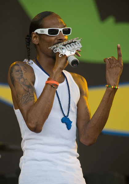 Snoop Dogg performs live on the Pyramid Stage during Day 2 of the