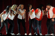 (L-R) Actresses Jenna Ushkowitz, Heather Morris, Dianna Agron, Naya Rivera, Amber Riley and Ashley Fink perform during the kickoff of the Glee Live! In Concert! tour at the Mandalay Bay Events Center May 21, 2011 in Las Vegas, Nevada.
