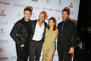 (L-R) Actor and musician Jencarlos Canela, actor Amaury Nolasco, Eva Longoria, and Ricky Martin attend Global Gift Foundation Dinner at Auberge Residences & Spa sales office on December 3, 2015 in Miami, Florida.