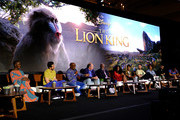 (L-R) Actors Florence Kasumba, Billy Eichner, Creator/producer African vocal/choir arrangements Lebo M., Composer Hans Zimmer, actors John Kani, Shahadi Wright Joseph, JD McCrary, Seth Rogen, Alfre Woodard, Chiwetel Ejiofor and Donald Glover attend the Global Press Conference for Disney's THE LION KING on July 10, 2019 in Beverly Hills, California.