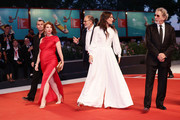 "Robinson Stevenin, Lola Naymark ,  Jean-Pierre Darroussin,  Anais Demoustier and  Robert Guediguian walk the red carpet ahead of the ""Gloria Mundi"" screening during the 76th Venice Film Festival at Sala Grande on September 05, 2019 in Venice, Italy."