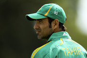 Imran Tahir of South Africa looks on during a friendly match between Gloucestershire and South Africa at The County Ground on August 22, 2012 in Bristol, England.