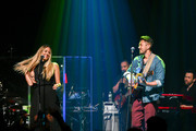 Singer Colbie Caillat (L) and Justin Young of the band Gone West perform at Gramercy Theatre on April 09, 2019 in New York City.