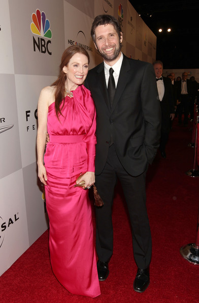 Actress Julianne Moore (L) and filmmaker Bart Freundlich arrive at NBCUniversal/Focus Features Golden Globes Viewing and After Party sponsored by Chrysler held at The Beverly Hilton hotel on January 16, 2011 in Beverly Hills, California.