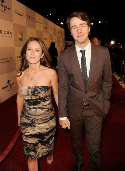 Actor Edward Norton (R) and producer Shauna Robertson arrive at NBCUniversal/Focus Features Golden Globes Viewing and After Party sponsored by Chrysler held at The Beverly Hilton hotel on January 16, 2011 in Beverly Hills, California.