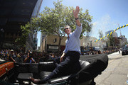 Gavin Newsom, Lieutenant Governor of California, waves to the crowd during the Golden State Warriors Victory Parade on June 12, 2018 in Oakland, California.  The Golden State Warriors beat the Cleveland Cavaliers 4-0 to win the 2018 NBA Finals. NOTE TO USER: User expressly acknowledges and agrees that, by downloading and or using this photograph, User is consenting to the terms and conditions of the Getty Images License Agreement.