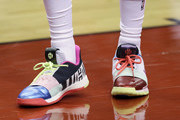 A view of  the sneakers worn by James Harden #13 of the Houston Rockets  during warmups before Game Six of the Western Conference Semifinals of the 2019 NBA Playoffs at Toyota Center on May 10, 2019 in Houston, Texas. NOTE TO USER: User expressly acknowledges and agrees that, by downloading and or using this photograph, User is consenting to the terms and conditions of the Getty Images License Agreement.