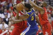 Kevon Looney #5 of the Golden State Warriors is defended by Nene Hilario #42 of the Houston Rockets and Chris Paul #3  during Game Six of the Western Conference Semifinals of the 2019 NBA Playoffs at Toyota Center on May 10, 2019 in Houston, Texas. NOTE TO USER: User expressly acknowledges and agrees that, by downloading and or using this photograph, User is consenting to the terms and conditions of the Getty Images License Agreement.