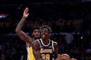 Dwight Howard #39 of the Los Angeles Lakers drives past Glenn Robinson III #22 of the Golden State Warriors during a 120-94 Lakers win at Staples Center on November 13, 2019 in Los Angeles, California.  NOTE TO USER: User expressly acknowledges and agrees that, by downloading and/or using this photograph, user is consenting to the terms and conditions of the Getty Images License Agreement.