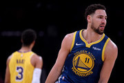 Klay Thompson #11 of the Golden State Warriors celebrates his three pointer behind Josh Hart #3 of the Los Angeles Lakers during a 130-111 Warrior win at Staples Center on January 21, 2019 in Los Angeles, California.  NOTE TO USER: User expressly acknowledges and agrees that, by downloading and or using this photograph, User is consenting to the terms and conditions of the Getty Images License Agreement.