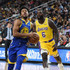 Lance Stephenson Photos - Quinn Cook #4 of the Golden State Warriors drives to the basket ahead of Lance Stephenson #6 of the Los Angeles Lakers during their preseason game at T-Mobile Arena on October 10, 2018 in Las Vegas, Nevada. The Lakers defeated the Warriors 123-113. NOTE TO USER: User expressly acknowledges and agrees that, by downloading and or using this photograph, User is consenting to the terms and conditions of the Getty Images License Agreement. - Golden State Warriors vs. Los Angeles Lakers