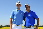 Renato Paratore of Italy and Edoardo Molinari of Italy pose for a photo prior to Day One of the GolfSixes at The Centurion Club on May 5, 2018 in St Albans, England.