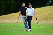 Craig Brown of Astbury Hall Golf Club and James Wright of Market Drayton Golf Club wait to play their shots during the Golfbreaks.com PGA Fourball Championship Midland Qualifier at The Staffordshire Golf Club on July 4, 2017 in Stafford, England.