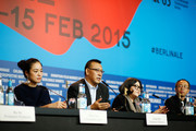 (2nd-R) Actress Hung Huang, director Jiang Wen and actress Zhou Yun  attends the 'Gone with the Bullets' (Yi bu zhi yao) press conference during the 65th Berlinale International Film Festival at Grand Hyatt Hotel on February 11, 2015 in Berlin, Germany.