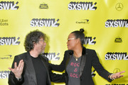 "Writer and executive producer Neil Gaiman and actress and panel moderator  Aisha Tyler attend the Good ""Omens: The Nice and Accurate"" SXSW Event during the 2019 SXSW Conference and Festivals at ZACH Theatre on March 09, 2019 in Austin, Texas."