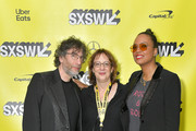 "(L-R) Writer and executive producer Neil Gaiman, SXSW director of film Janet Pierson, and actress and panel moderator Aisha Tyler attend the Good ""Omens: The Nice and Accurate"" SXSW Event during the 2019 SXSW Conference and Festivals at ZACH Theatre on March 09, 2019 in Austin, Texas."