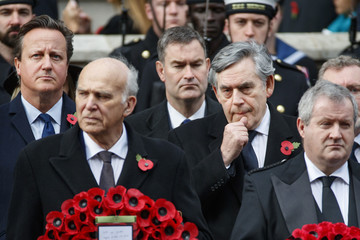 Gordon Brown David Cameron The Royal Family Lay Wreaths at the Cenotaph on Remembrance Sunday