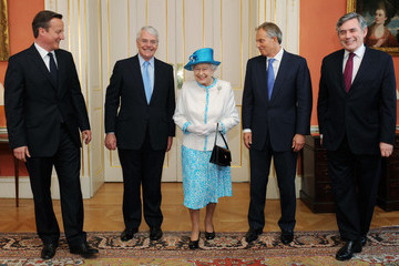 Gordon Brown David Cameron The Prime Minister David Cameron Hosts A Reception For Queen Elizabeth II, The Duke Of Edinburgh and Past Prime Ministers