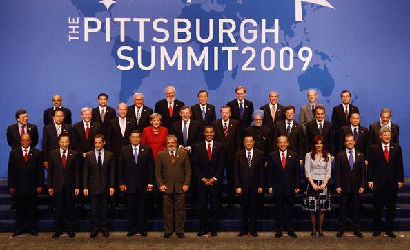 World Leaders Gather For G20 Summit In Pittsburgh [team,event,choir,music,musical ensemble,company,crew,l-r,pittsburgh,susilo bambang yudhoyono,lee myung-bak,nicolas sarkozy,jacob zuma,saud al faisal,luiz inacio lula da silva,felipe calderon hinojosa,cristina fernandez de kirchner]