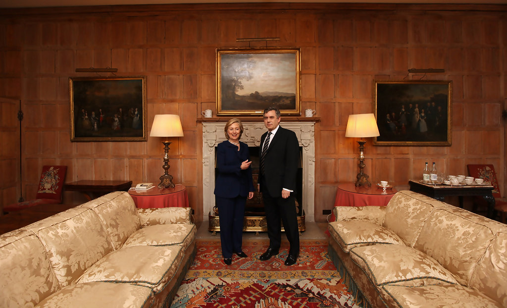 Gordon Brown Holds Talks With Hillary Clinton At Chequers