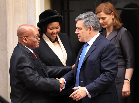 The President Of The Republic Of South Africa Makes A State Visit To The UK [event,gesture,white-collar worker,suit,businessperson,conversation,official,formal wear,management,family pictures,jacob zuma,gordon brown,sarah brown,wife,president,state visit,uk,south african,president of the republic of south africa,l]