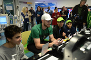Gordon Hayward (2nd L) plays video games for Extra Life with Nicholas, Ben, and Roy at Boston Children's Hospital for Extra Life November 2, 2019 in Boston, Massachusetts.