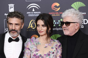 (L-R) Leonardo Sbaraglia, Penelope Cruz and Pedro Almodovar attends the Goya Cinema Awards 2020 during the 34th edition of the Goya Cinema Awards at Jose Maria Martin Carpena Sports Palace on January 25, 2020 in Malaga, Spain.