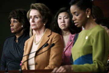 Grace Meng Nancy Pelosi Holds Weekly Press Conference At The Capitol