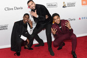(L-R) Christian Combs, recording artist French Montana, and Justin Dior Combs attends the Clive Davis and Recording Academy Pre-GRAMMY Gala and GRAMMY Salute to Industry Icons Honoring Jay-Z on January 27, 2018 in New York City.