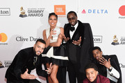 (L-R) Recording artist French Montana, actor Cassie Ventura, recording artist-producer Sean Combs, Justin Dior Combs, and Christian Combs attend the Clive Davis and Recording Academy Pre-GRAMMY Gala and GRAMMY Salute to Industry Icons Honoring Jay-Z on January 27, 2018 in New York City.