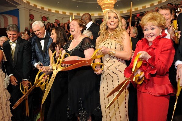 Jessica Simpson West Virginia Governor Joe Manchin, owner and chairman of The Greenbrier Jim Justice, Brooke Shields, Kathy Justice, singer Jessica Simpson and Debbie Reynolds participate in the ribbon cutting at the grand opening of the Casino Club at The Greenbrier on July 2, 2010 in White Sulphur Springs, West Virginia.